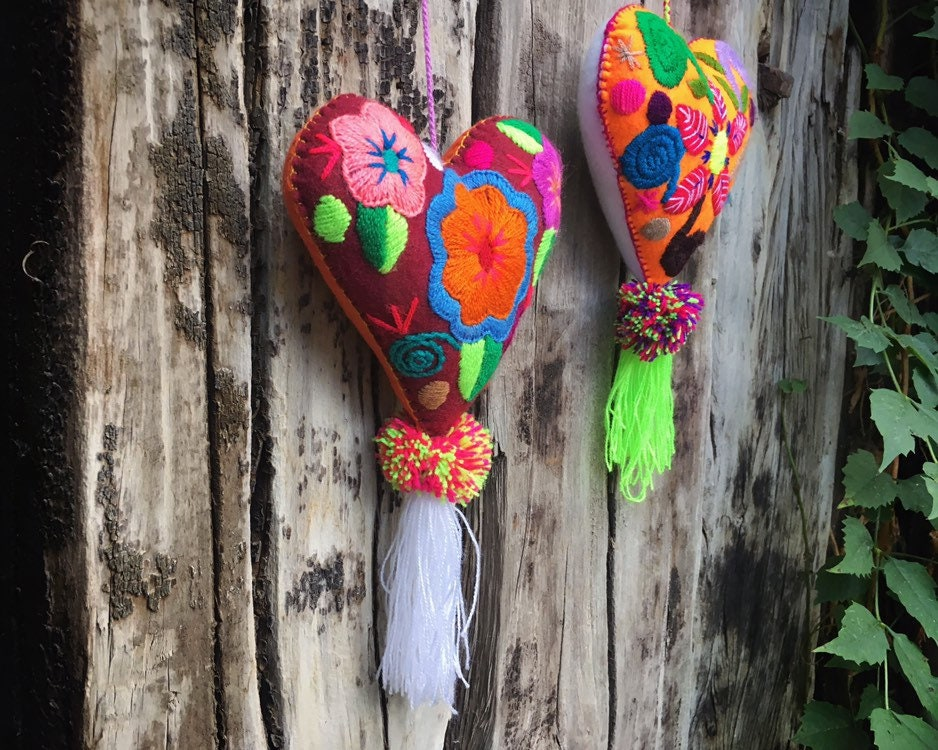 Hand Embroidered Felt Heart Ornaments Wall Hanging Chiapas