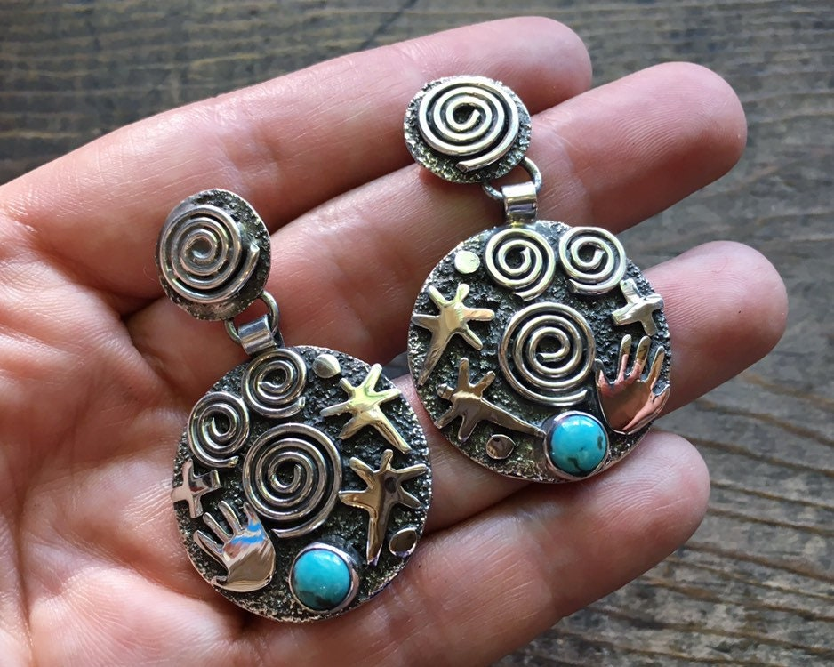 6a70e16ae Sterling Silver Dragonfly Earrings Signed Navajo Native American ...
