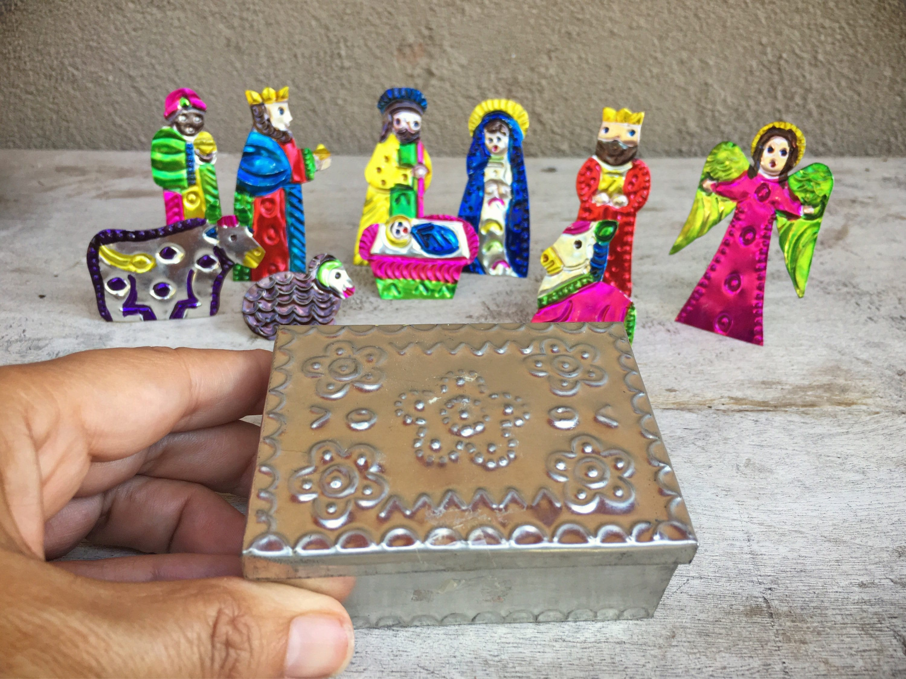 Vintage Mexican tin miniature Nativity set in punched tin box ...