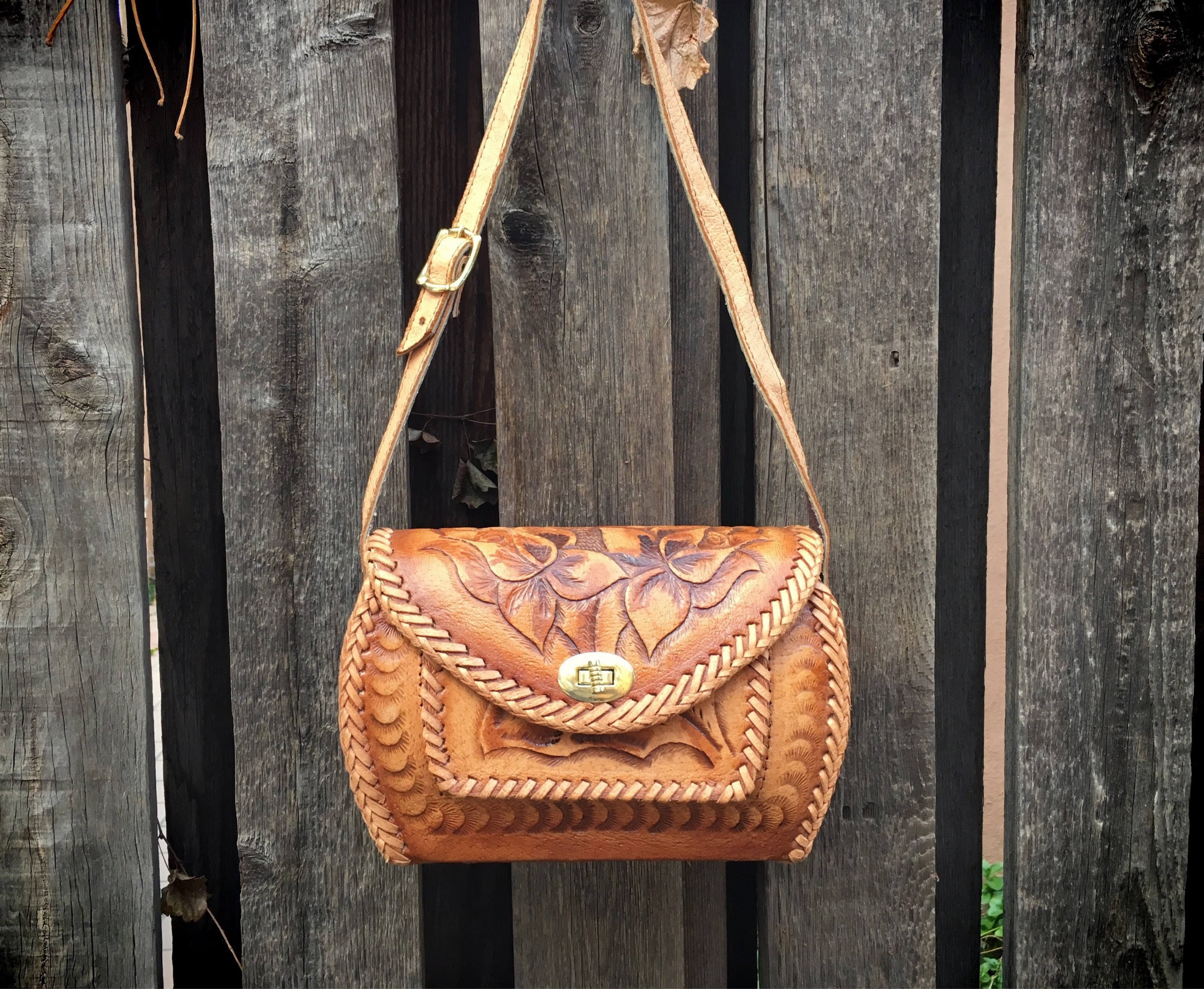Mexican Purse Tooled Leather Bag 39ed2b8763254