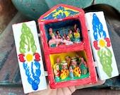 Very Small Vintage Peruvian Folk Art Retablo Scenes in Wood Box, Nativity Christmas Decor, Village Life with Animals Diorama, Friend Gift
