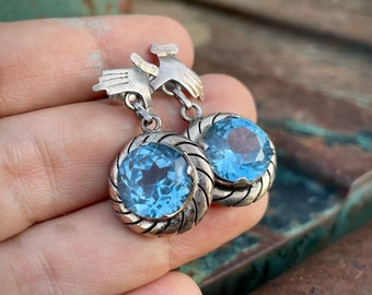 Mexican Silver Earrings Hand with Aquamarine Colored Crystal, 925 Sterling Estate Jewelry