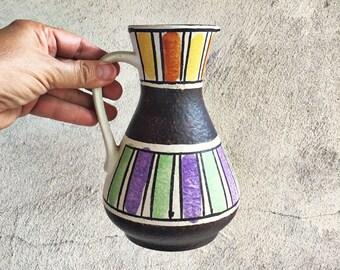 West German Pottery Vase Black White Colorful Jasba Ceramic Pottery Pitcher