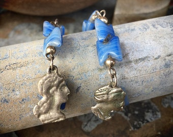Vintage Blue Glass Bead Earrings with Woman Man Amulets, Extra Long Dangle Jewelry for Women