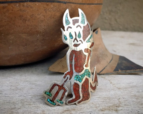 Vintage Navajo Tom James Cartoon Devil Brooch Pin of Crushed Coral Turquoise Inlay, Native America Indian Jewelry, Gift for Devilish Person