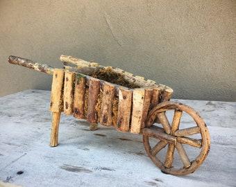 Twig Wheelbarrow or Cart Plant Holder Floral Arrangement, Rustic Garden Primitive Decor
