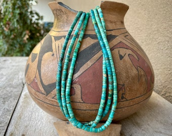 "Three Strand Turquoise Heishi Bead Necklace 18.5"", Santo Domingo Native American Indian Jewelry"