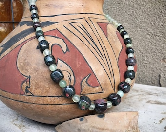 """17"""" Tumbled Green Pink Stone Ruby Zoisite Necklace for Women, Boho Jade Color Chunky Jewelry, Positivity Anyolite Healing Gemstone Gift Her"""