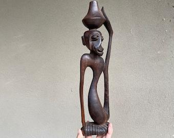 Modernist Makonde Blackwood Sculpture Monkey Shetani, African Wood Carving, Ethnographic Art