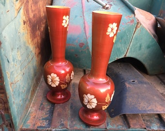 Pair of Hand-Turned Hand-Etched Wood Vases from Mexico, Organic Modern Rustic Home Decor