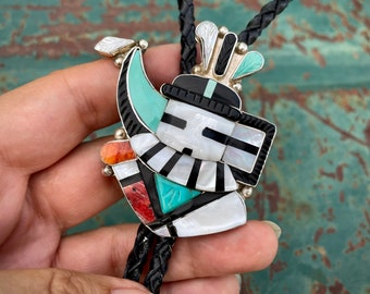 Zuni Eldred Martinez Bolo Tie of Longhorn Kachina, Carved Turquoise Multi-Stone, Western Tie Shoestring Bola, Southwestern Cowboy Fashion
