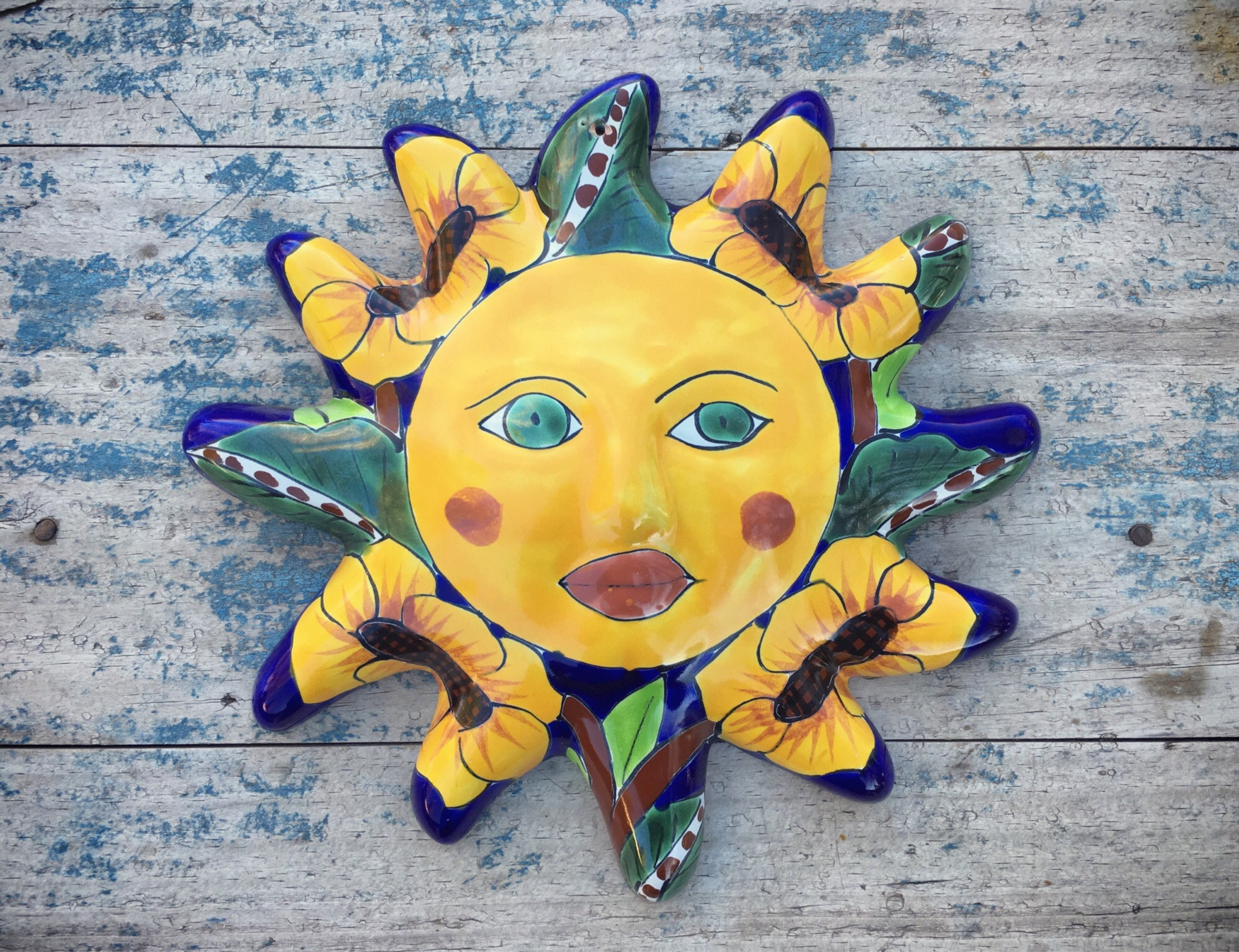 Vintage Talavera Pottery Sun Wall Hanging, Mexican Decor, Patio ...