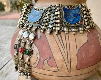 Vintage Lapis Lazuli Necklace for Women, Beaded Tribal Jewelry, Ethnic Choker Boho Chic