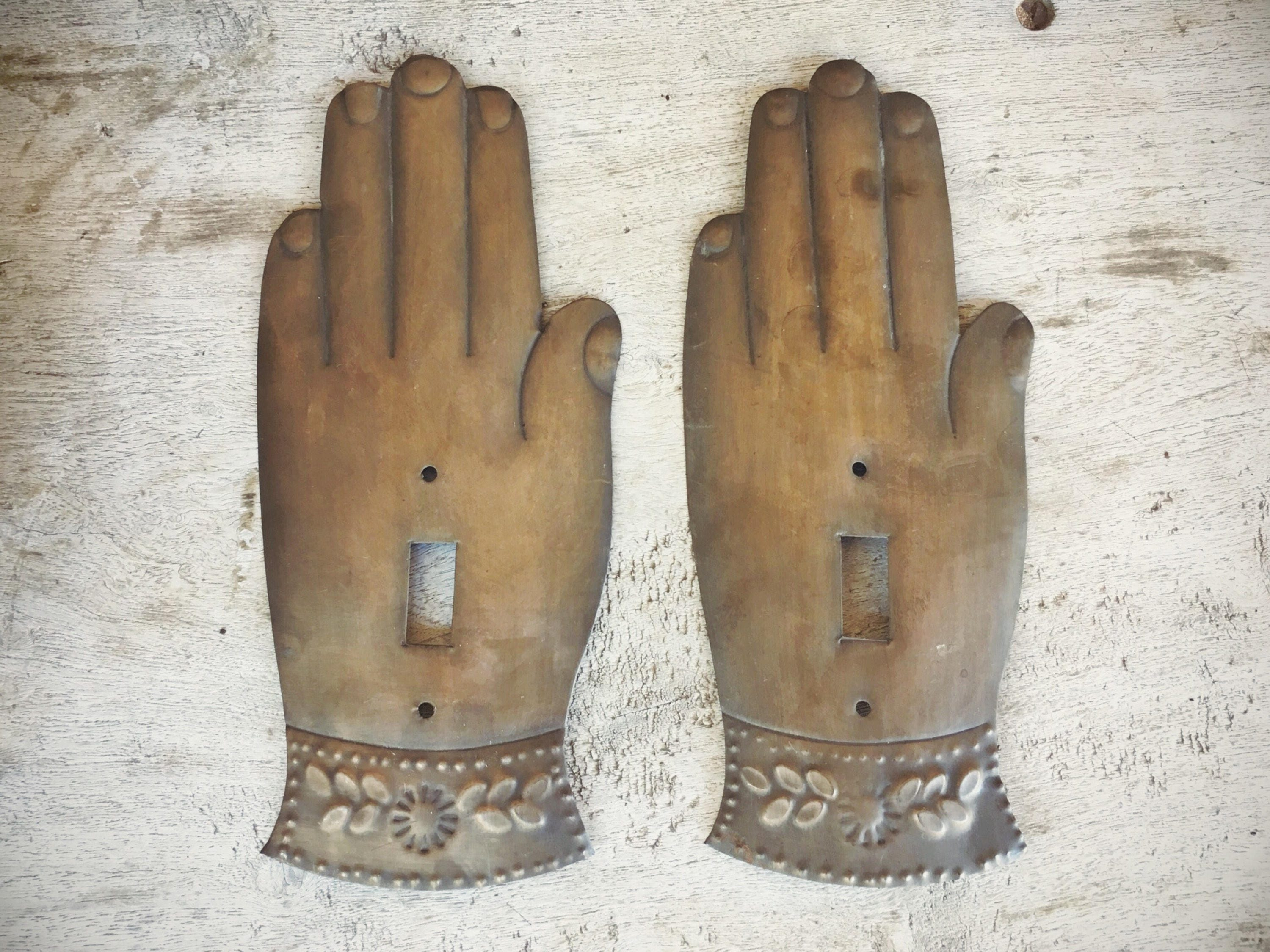 Pair Of Old Mexican Tin Single Light Switch Covers Hand Milagro