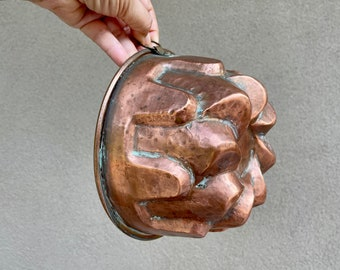 Vintage Heavy Copper Mold Sculptural Wall Hanging, Rustic Kitchen Decor, Gallery Wall Display