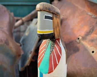 Hand Carved and Painted Navajo Roger Pino Shalako Dawn Katsina Doll, Kachina Wood Carving