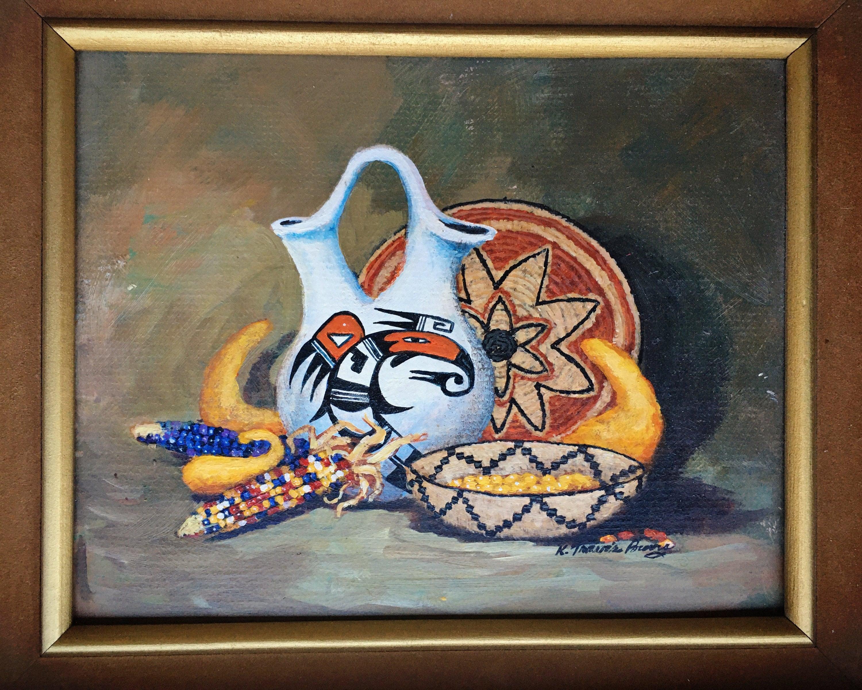 Acoma Artist Original Oil Painting of Native American