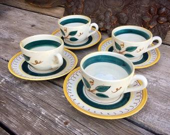 Set of Four Vintage Stangl Tea Coffee Cups and Saucers Terra Rose Fruit Lemons, Cottage Decor