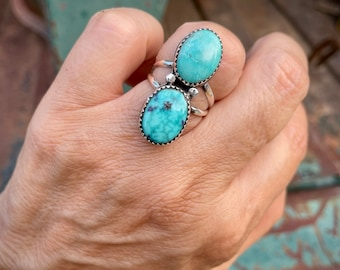 Dainty Two-Stone Waterweb Turquoise Ring Size 7.75, Vintage Native American Indian Jewelry