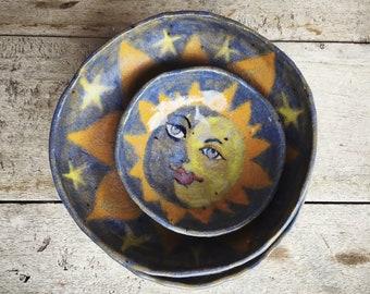 Sun Face Pottery Small Bowls Rustic Decor Mexican Folk Art, Yellow Blue Kitchen Decor, Mexican Decor, Decorative Bowls, Trinket Dishes