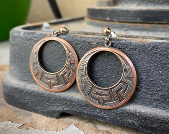 Vintage Copper Hoop Earrings with Mimbres Design, Route 66 Tourist Jewelry for Women, Vintage Gift