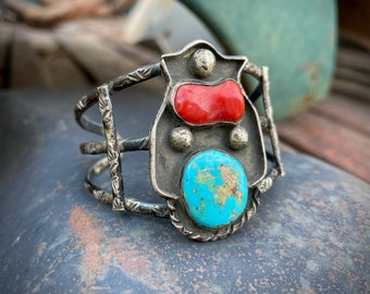 Old Navajo Turquoise and Mediterranean Coral Coin Silver Split Shank Bracelet for Small Wrist
