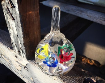 Midcentury Glass Paperweight with Blue Red Green White Yellow Floral Design, Glass Suncatcher
