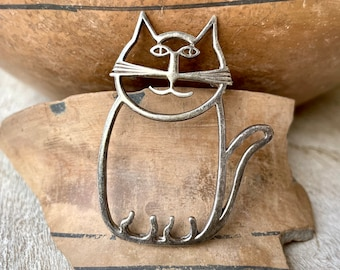Vintage Cat Brooch Pin Sterling Silver Wire Outline, Cute Jewelry, Mother's Day Gift for Mom
