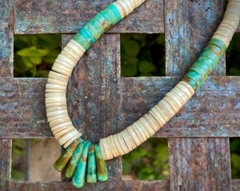 "20"" Heishi Necklace of Melon Shell and Turquoise Turquoise Jacla, Unisex Jewelry Santo Domingo"