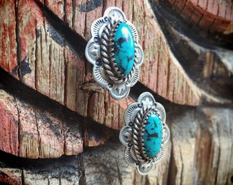 Vintage Turquoise Earrings Sterling Silver Concho Posts, Old Pawn Jewelry, Gift for Mom