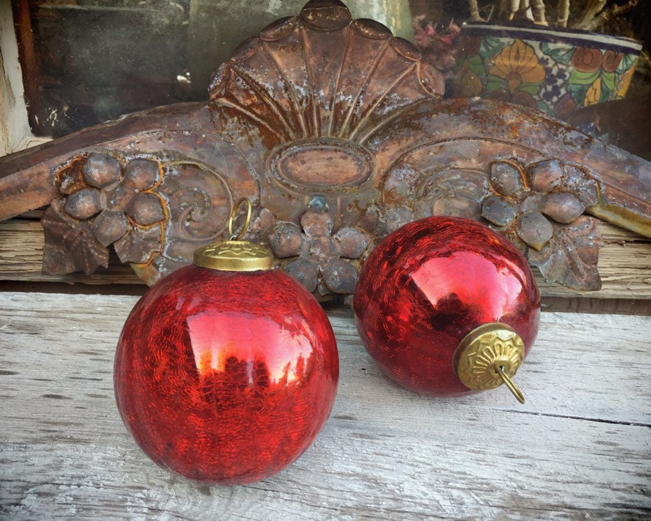 Vintage Red Mercury Glass Christmas Ornament Kugel Style