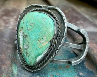 95g Large Turquoise Stone on Heavy Sterling Silver Cuff Bracelet, Vintage Native American Jewelry