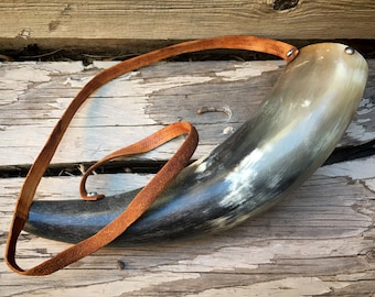 Vintage Powder Horn (Missing Spout) with Leather Strap, Gunpowder Container Flask, Man Cave Decor