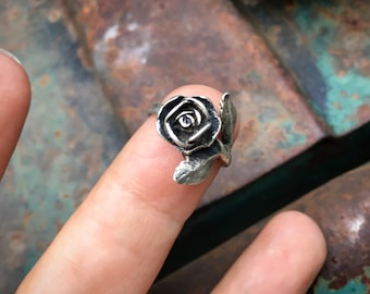 Sterling Silver Rose Shaped Ring by James Avery, Flower Jewelry for Women, Symbol of Love Romance