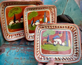 Set of Three Old Mexican Pottery Nesting Trays, Tlaquepaque Folk Art, Rustic Home Decor Southwest