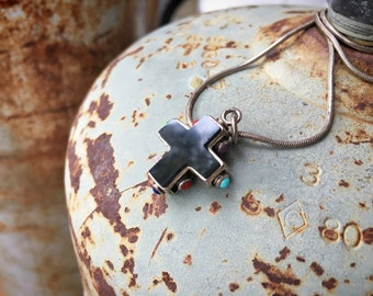 925 Sterling Silver Black Onyx Cross Pendant Necklace with Ornate Silverwork Multistone Jewelry