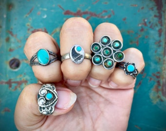 Dainty Vintage Turquoise Ring Boho Jewelry, Fred Harvey Era Jewelry Southwestern, Native American Indian Rings Vintage, Gift for Young Women
