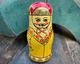 Vintage USSR Nesting Dolls 4-Piece Hand-Painted Family of Four, Matryoshka Babushka Folk Art