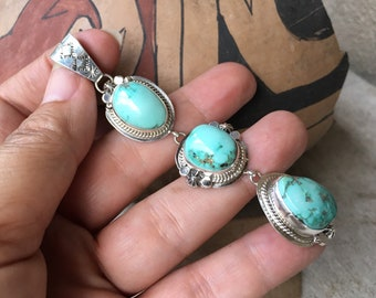 Extra Long Navajo Made Turquoise Pendant for Necklace, Native American Indian Jewelry December