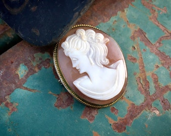 Victorian carved shell cameo pendant brooch 800 silver elaborate hairstyle Bertha collar blush pink