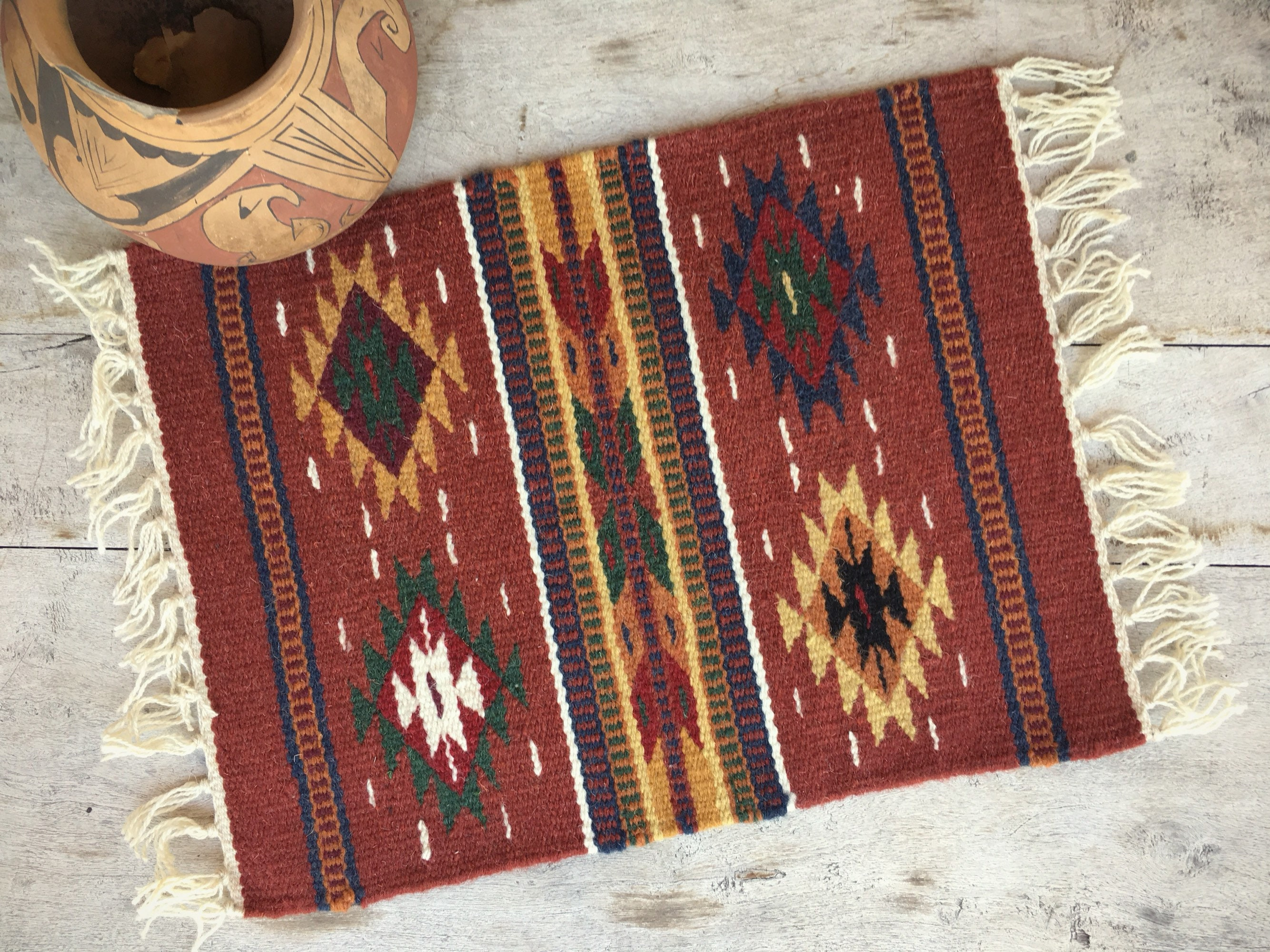 Woven Wool Placemat Wall Hanging Tapestry Or Table Runner Rustic Red Decor,  Small Accent Rug Zapotec, Southwestern Mexican Decor, Boho Decor