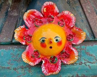Vintage Mexican Folk Art Sunshine Mask Coconut Shell Wall Hanging, Mexican Folk Art, Friend Gift