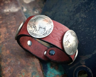 Leather Wrist Band Bracelet Buffalo Nickel Old Coins, Navajo Native American Style Jewelry