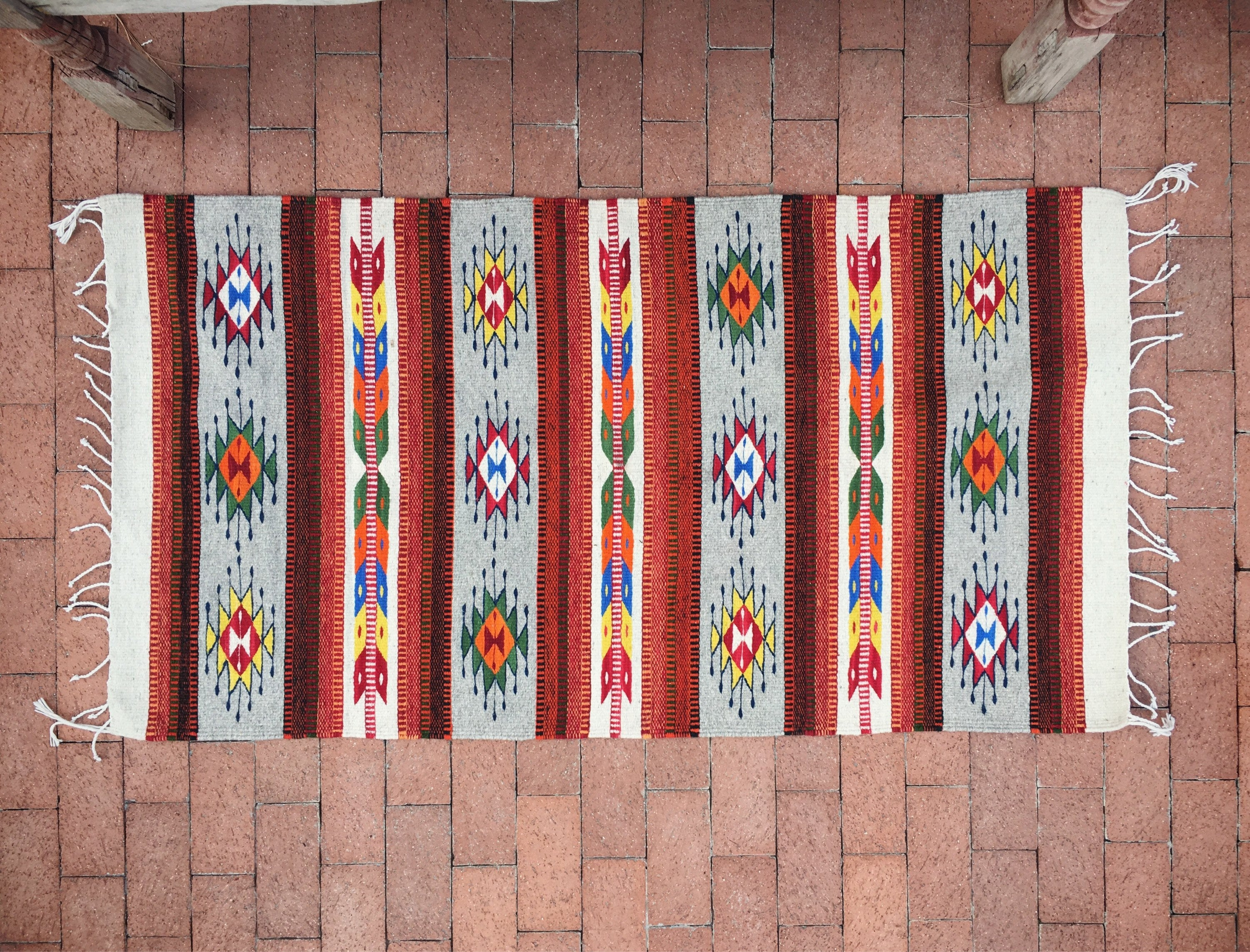 31 X 58 Mexican Rug Woven Wall Hanging Southwestern Decor