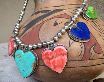 111gm Turquoise Spiny Oyster Heart Necklace by Taos Buffalo Dancer, Native American Indian Jewelry