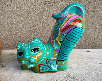 Guererro Mexico Teal Blue Cat Coin Bank with Colorful Design, Gift for Girl or Boy, Bedroom Decor