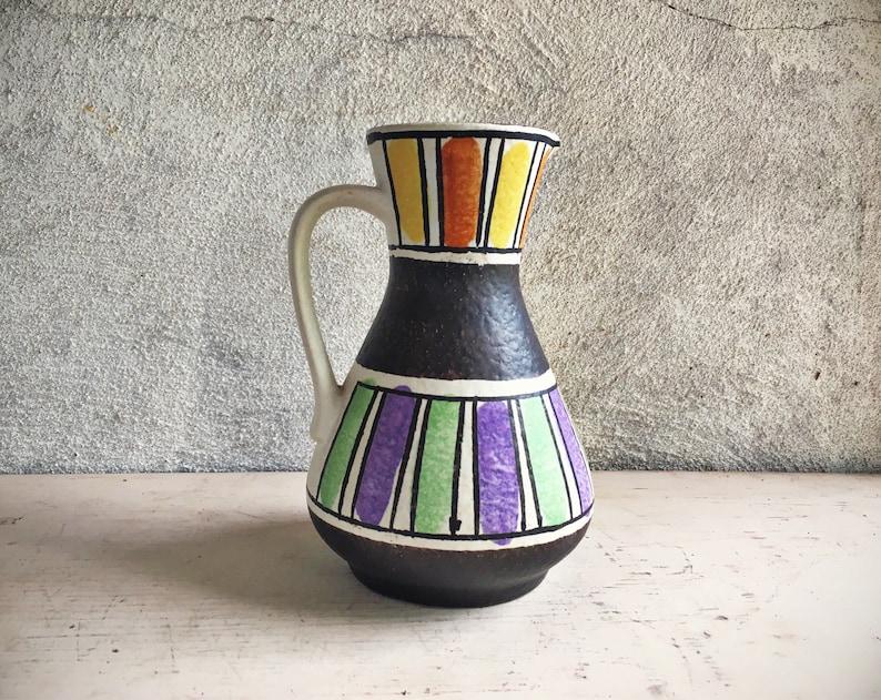 a7db56d3205 West German Pottery Vase Black White Colorful Jasba Ceramic