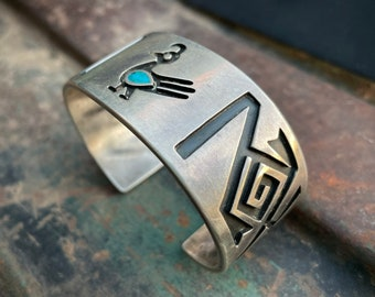 Vintage Sterling Silver Hopi Overlay Turquoise Cuff Bracelet Quail Design, Native American Jewelry