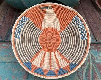 Shallow Woven Basket with Bird Design, Bohemian Southwestern Home Decor, Straw Weaving Gallery Wall