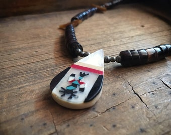 1970s Channel Inlay Pendant Shell Heishi Choker with Bird Fetishes, Boho Southwestern Necklace